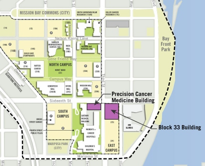 Map showing location of the planned Precision Cancer Building and Block 33 Building on the Mission Bay campus