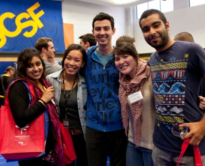 From left: School of Dentistry students Malini Madhusudhan and Mychi Nguyen, pose for a photo with School of Pharmacy students Eric Pressler, Nozomi Giese and Luis Perez, at the Chancellor's Reception and New Student Orientation Fair.