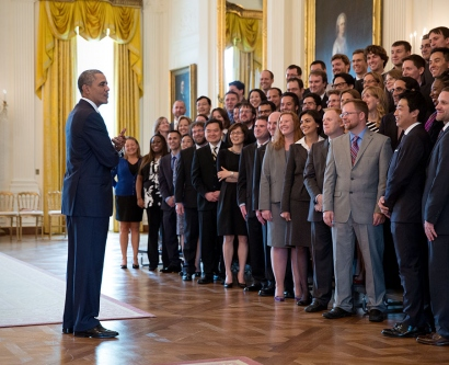 President Obama greets PECASE winners at the White House