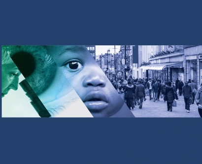 The program for the Precision Public Health Summit: The First 1,000 Days, shows an image of a scientist looking at a microscope, a close-up of an eye, an African-American child's face and a group of people on a street