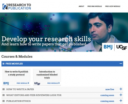 screenshot of the Research to Publication homepage