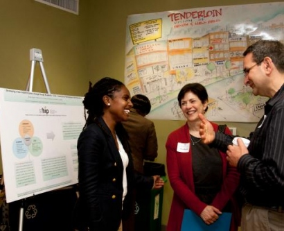 From left, Tekeshe Mekennon, Rena Pasick and Michael Potter, gather at the San Francisco Health Improvement Partnerships (SF HIP) event held at the Women's Building on March 28.