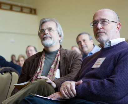 Robert Hiatt, MD, PhD, left, and Harry Hollander, MD, were among dozens of University leaders and School of Medicine faculty who attended a daylong retreat dedicated to envisioning the ideal learning environment for students.