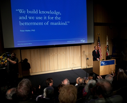 Sam Hawgood speaking at 2014's State of the University address