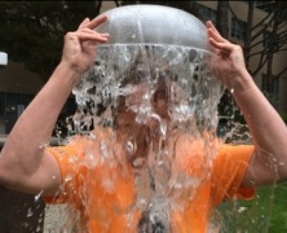 Chancellor Sam Hawgood accepts the ice bucket challenge