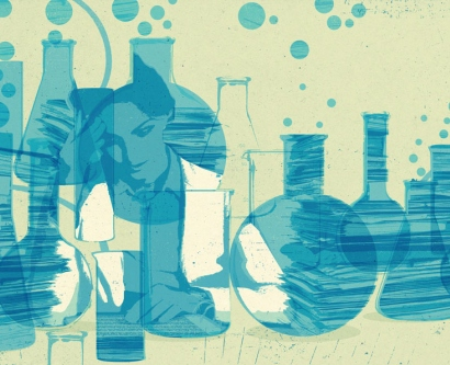 illustration of female scientist working among beakers in the lab