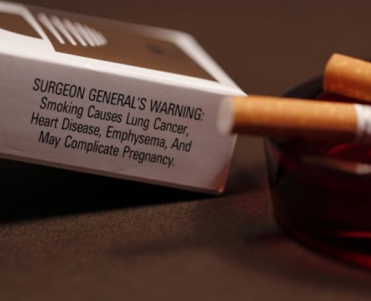 Cigarette pack with surgeon general's warning