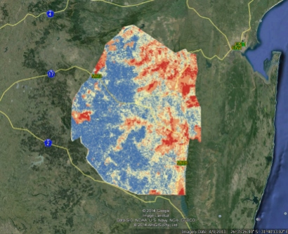 Google Earth map showing areas of malaria risk in Swaziland