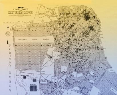 San Francisco map of tuberculosis cases, 1912-1914