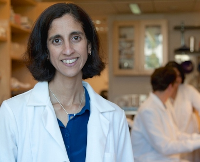 Tejal Desai, PhD, standing in her lab