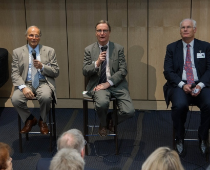 Bertram H. Lubin, Sam Hawgood, and Mark Laret answer questions at a Jan. 30 faculty event about UCSF Benioff Children's Hospital's affiliation with Children's Hospital Oakland.