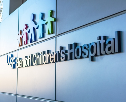 An exterior sign of UCSF Benioff Children's Hospital is shown at the Mission Bay location