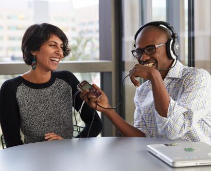 Osama Ahmed and Karuna Meda making a webcast