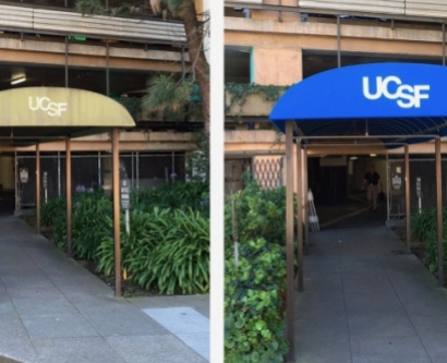a new blue awning at UCSF's Parnassus campus