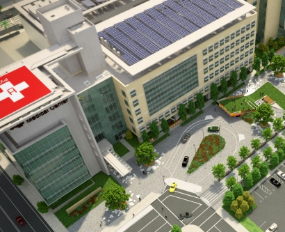 Rendering of the planned 4th Street public plaza at the new UCSF Medical Center at Mission Bay