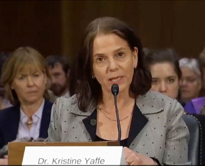 Kristine Yaffe testifies about the importance of Alzheimer's disease research and prevention at a meeting of the U.S. Senate Special Committee on Aging