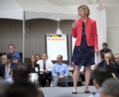 UCSF Chancellor Susan Desmond-Hellmann speaks during the OME Precision Medicine Summit in May.