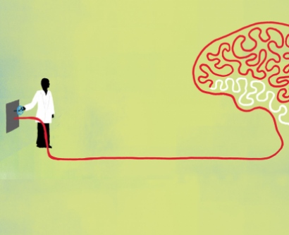 illustration of scientist with a large brain