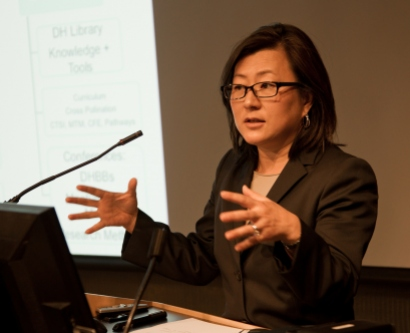 June Lee, MD, FACCP, director of CTSI's Early Translational Research, kicks off  the finalist presentations for the Spring 2013 Catalyst Awards.