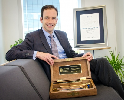 """Matthew R. Cooperberg, MD, MPH, is the 2015 recipient of the American Urological Association (AUA) """"Gold Cystoscope"""" award."""