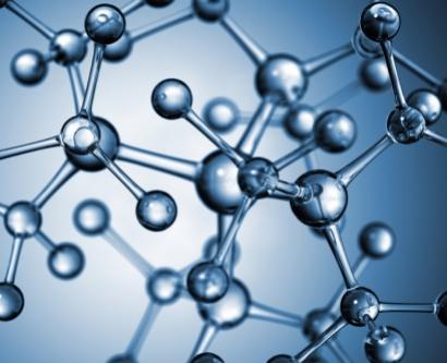 stock image of a drug molecule model