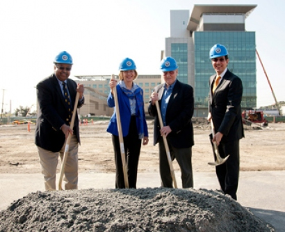 Haile Debas, Susan Desmond-Hellmann, Chuck Feeney and Jaime Sepulveda at the Mission Hall groundbreaking