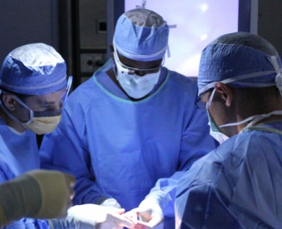 Pierre Theodore, MD, wears the Google Glass during surgery.