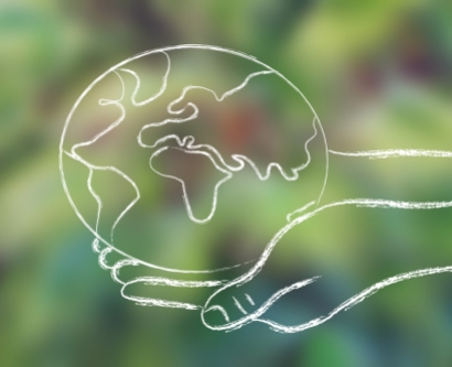 illustration of hands holding Planet Earth