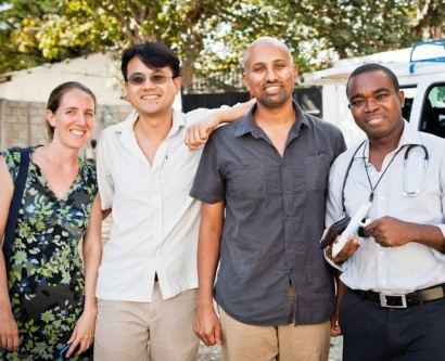 Faculty and fellows participating in the HEAL initiative pose for a photo in Hinche, Haiti.
