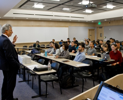"G. Steven Burrill, chief executive officer of Burrill & Company, a global life sciences investment firm based in San Francisco, talks to students in the ""Idea to IPO"" on the last day of class at Genentech Hall at UCSF Mission Bay"