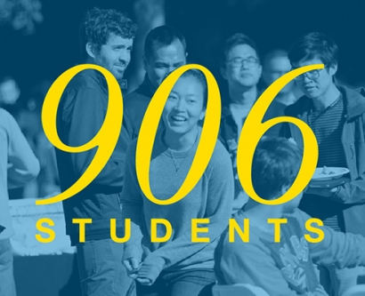 906 students in the incoming class, 65 percent female, 45 percent first-gen to grad school