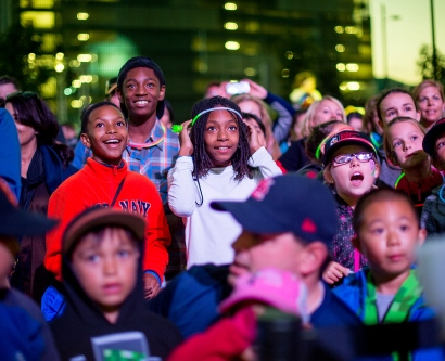 Children watch in awe during the Sept. 6 light show celebrating the completion of the new UCSF Medical Center at Mission Bay