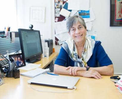 Dr. Kate Matthay at her desk