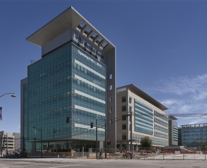 Exterior of new UCSF Medical Center at Mission Bay, shown nearly completed in June 2014