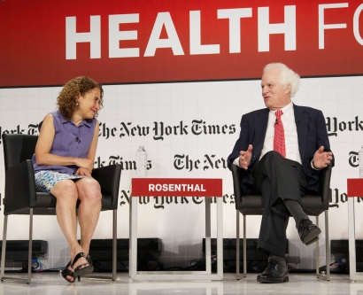 New York Times correspondent Elizabeth Rosenthal interviews Nobel Prize winner Stanley Prusiner, MD, at the Health for Tomorrow conference at UCSF Mission Bay.