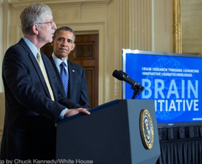 President Barack Obama is introduced by Dr. Francis Collins, Director, National Institutes of Health, at the BRAIN Initiative event in the East Room of the White House, April 2, 2013. (Official White House