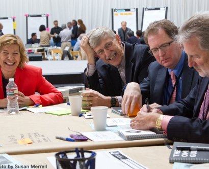 Chancellor Susan Desmond-Hellmann and Francis Collins, director of the National Institutes of Health, participated in the OME Precision Medicine Summit at UCSF