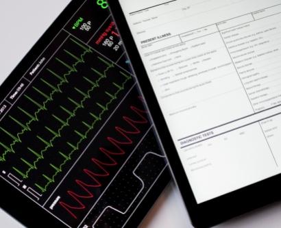 Digital tablets showing patient data