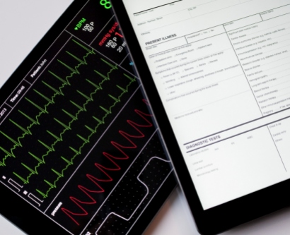 Digital tablets showing patient data