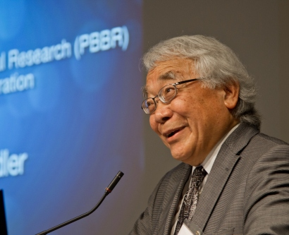 Keith Yamamoto, PhD, speaks during the May 23 panel discussion marking PBBR's 15 anniversary.