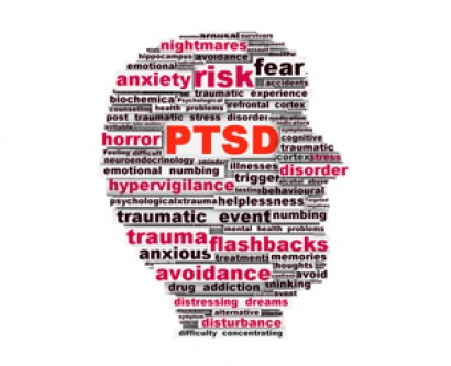 Word cloud about PTSD shaped into a human head