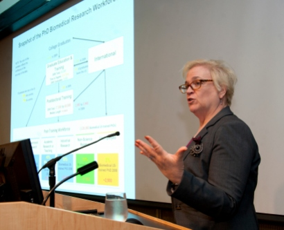 NIH Deputy Director Sally Rockey speaks at UCSF on Sept. 24