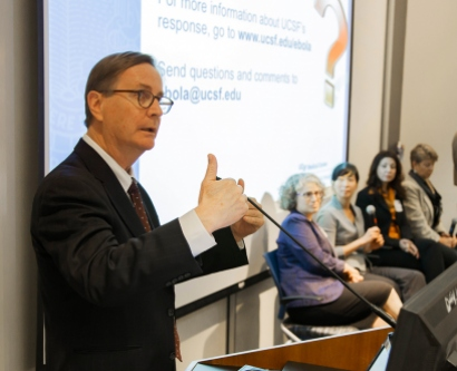 Chancellor Sam Hawgood address the UCSF community at a recent town hall discussing Ebola.