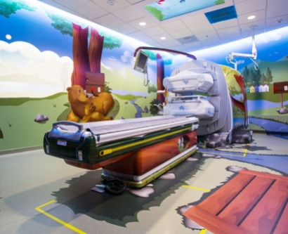 a forest-themed scan suite at the new UCSF Benioff Children's Hospital
