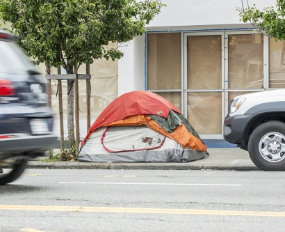 a tent is shown on a street in San Francisco