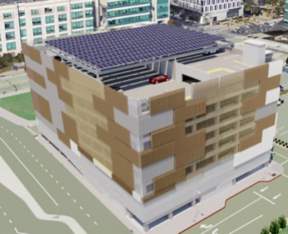 an artist's rendering of solar panels on a parking garage at UCSF's Mission Bay campus