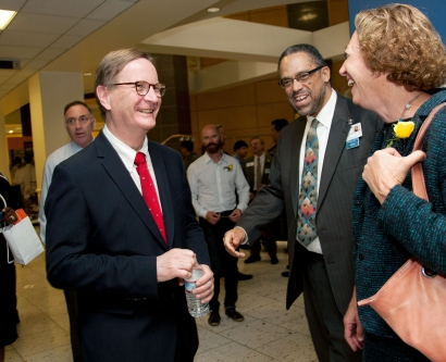 Chancellor Sam Hawgood speaks to faculty members after his inaugural State of the University address
