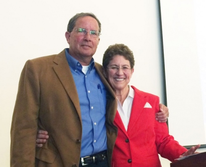 UCSF transplant recipients David Brown and Michele DesMarias pose for a photo at the Aug. 22 tranplant celebration
