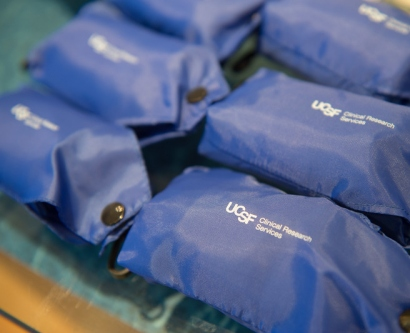 Giveaways at the grand opening of UCSF's Clinical Research Center