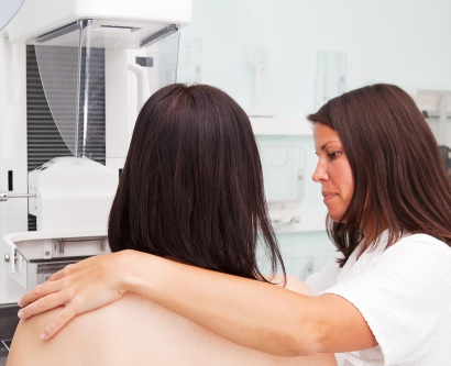Woman having a mammogram exam